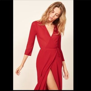 Midi Wrap Red Dress Small Reformation